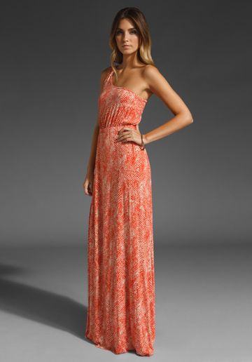 One shoulder coral maxi - perfect for bridesmaids.