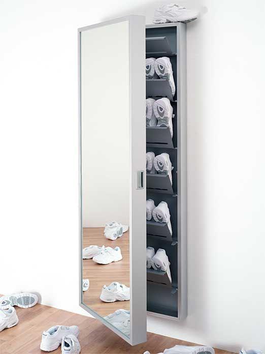 Schuhschrank Foot Box Aluminium Eloxiert Spiegelfront