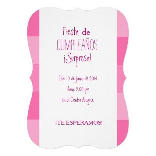 Invitaci n fiesta sorpresa de cumplea os rosa - Fiesta sorpresa de cumpleanos para nina ...