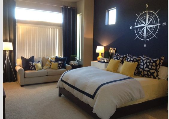 Master Bedrooms Navy Blue And Yellow On Pinterest