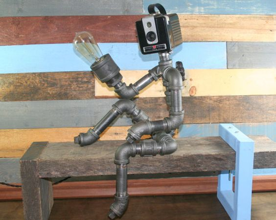 Robot Lamp Pipe Lamp Industrial Decor Steampunk by TheCleverRaven
