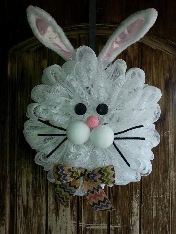 Cute White Mesh Bunny Wreath!!! Bebe'!!! So very cute!!!