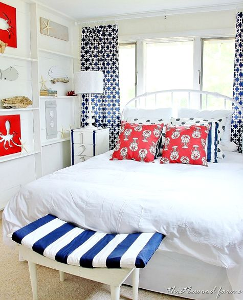 Bedroom Before And After Pictures Bedroom Colors Photos Bedroom Tv Unit Color Schemes For Bedroom: White, Red And Blue Nautical Bedroom With DIY Ledge Shelf