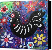 Folk Art Chicken Canvas Prints - Chicken Day Of The Dead Canvas Print by Pristine Cartera Turkus