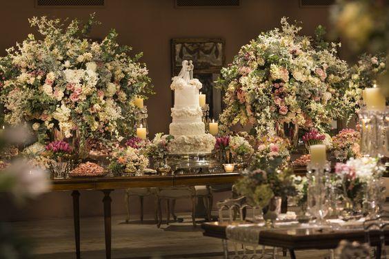 Beautiful romantic wedding dessert table