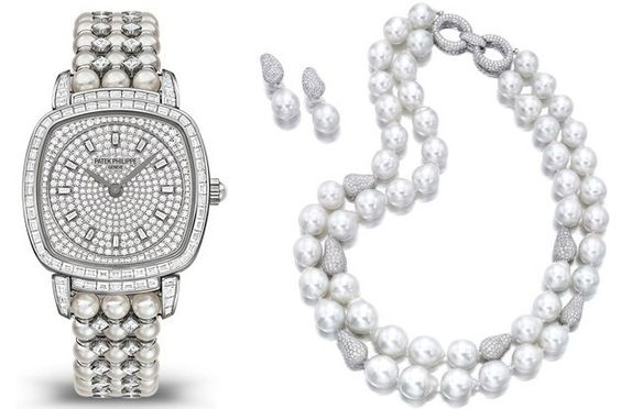 Patek Philippe Gondolo Haute Joaillerie Ref. 7042/100G paired with cultured pearl and diamond necklace and pendant-earrings