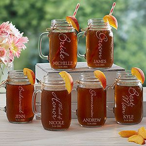 """LOVE these Personalized Wedding Glass Mason Jars - this """"Bridal Brigade"""" design is so cute! You can personalize it for every one in the wedding party!"""