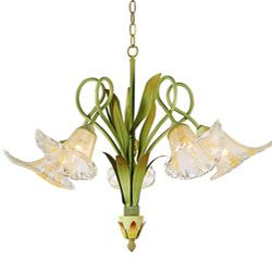 How lovely!  Hand-blown Glass 5-light Iron Floral Chandelier