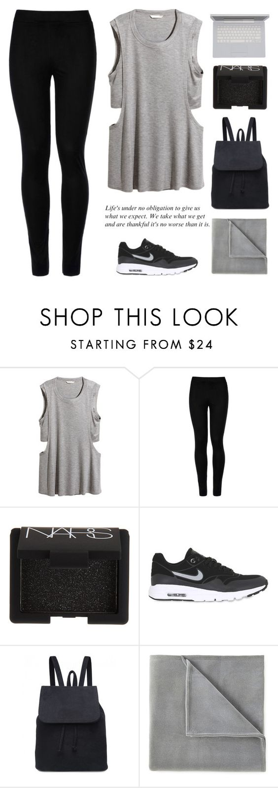 """""""Hmm"""" by blasphem-y ❤ liked on Polyvore featuring H&M, Wolford, NARS Cosmetics, NIKE, Vellux and fitness"""
