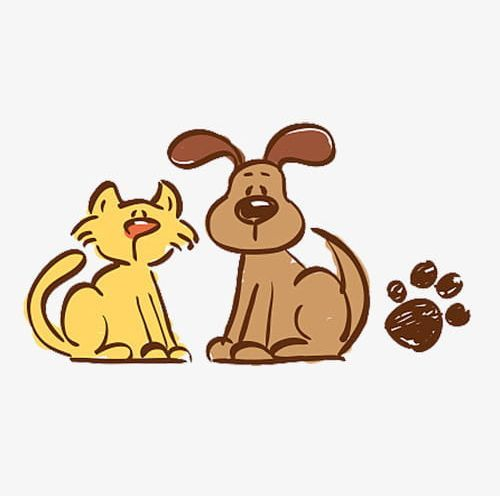 Hand Painted Cats And Dogs Png Animal Animal Footprint Cartoon