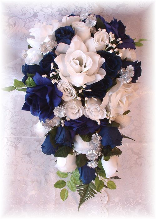 Wedding bridal bouquet flowers navy blue white 13pc for White and blue flower bouquet