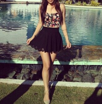 black floral bustier, black mini skirt spring/summer outfit ...