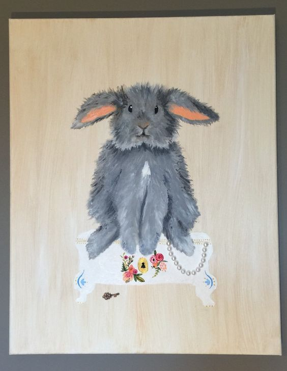"""""""VICTORIAN BUNNY"""" 16X20"""" Wrapped Canvas - Made to Order by WhimsicalOrigins on Etsy"""