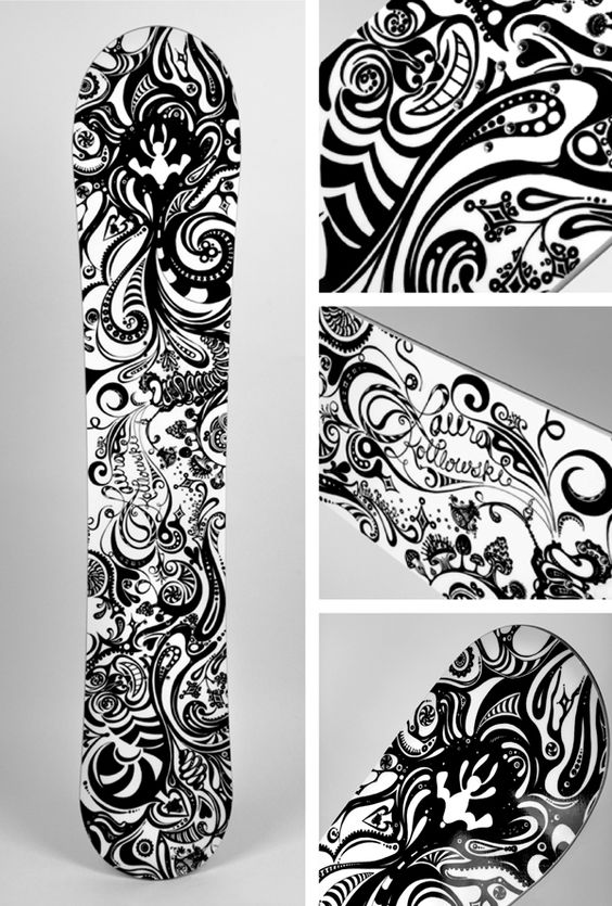 "Design & Illustration by Laura Kottlowski - Whimsical ""Alice in Wonderland"" themed Snowboard - life size pen & ink. Love the style."