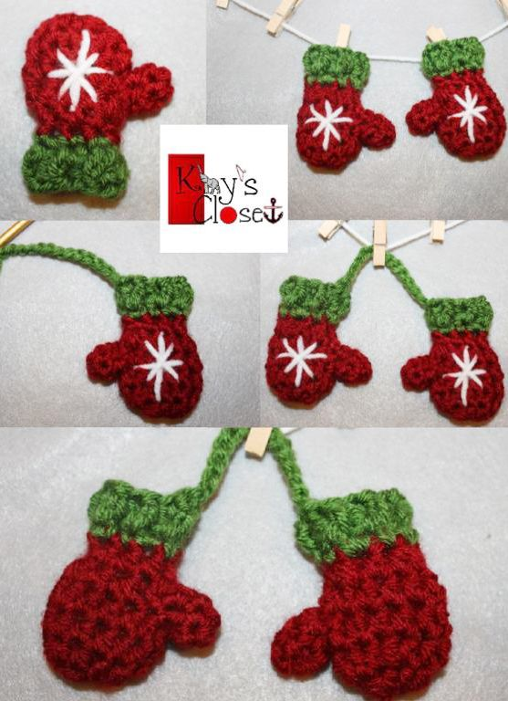 Free Crochet Pattern For Mini Christmas Tree : Mini Mitten Christmas Ornament Set Crochet Pattern ...