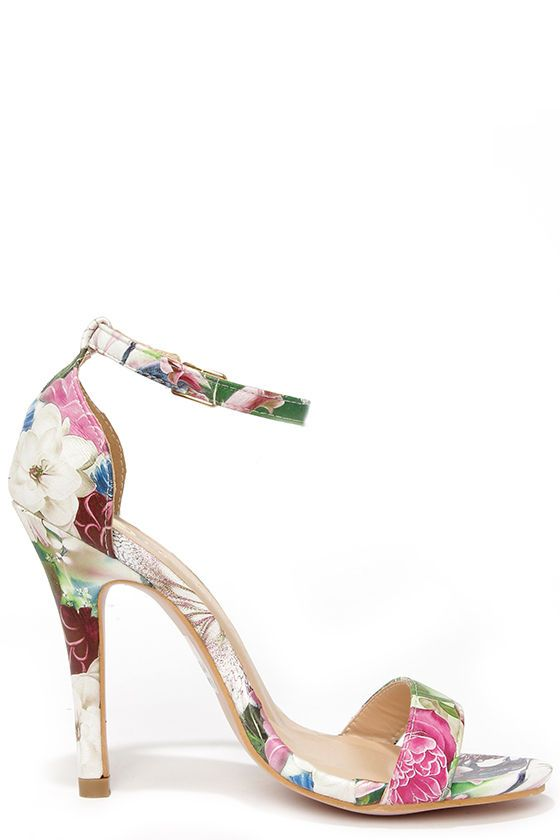 Fresh Picked White and Green Floral Dress Sandals | Floral