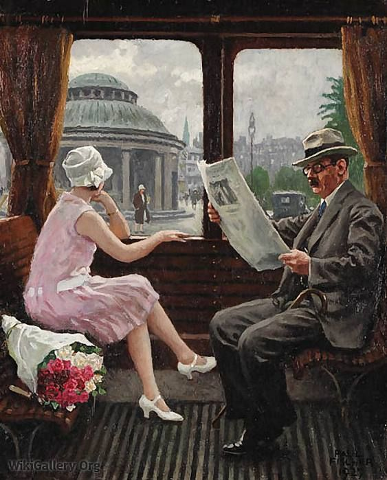 """In the Train Compartment"" by Paul Gustave Fischer, 1927"