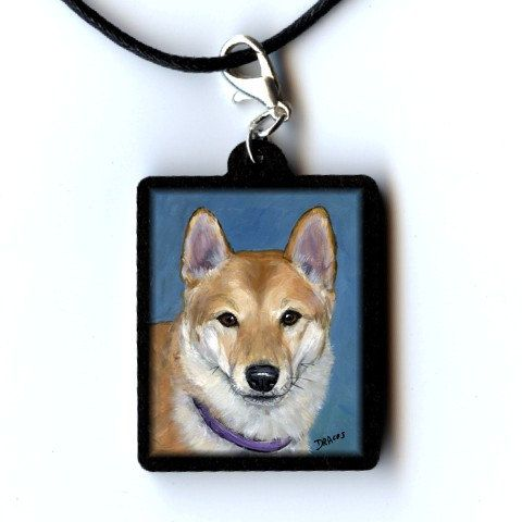 Shiba Inu Dog Art Jewelry Pendant Handmade from Original Painting by Dottie Dracos, Shiba Inu on Blue