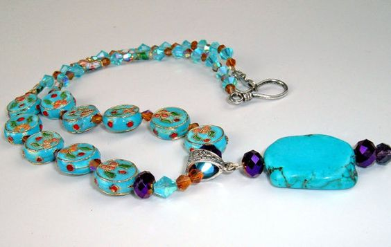 Cloisonne Necklace with Slab Turquoise and by extravagantdesigns, $50.00