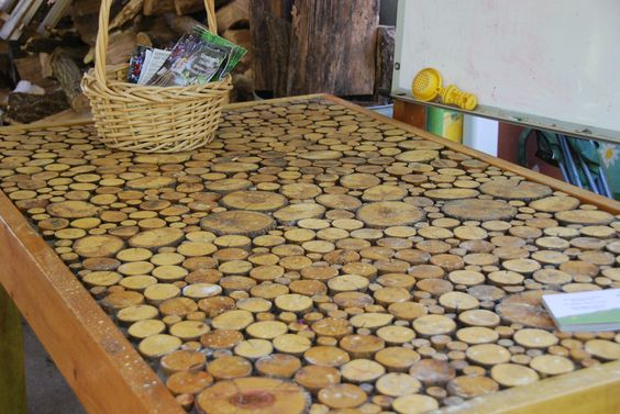 Wood slices tables and woods on pinterest for Wood trunk slices