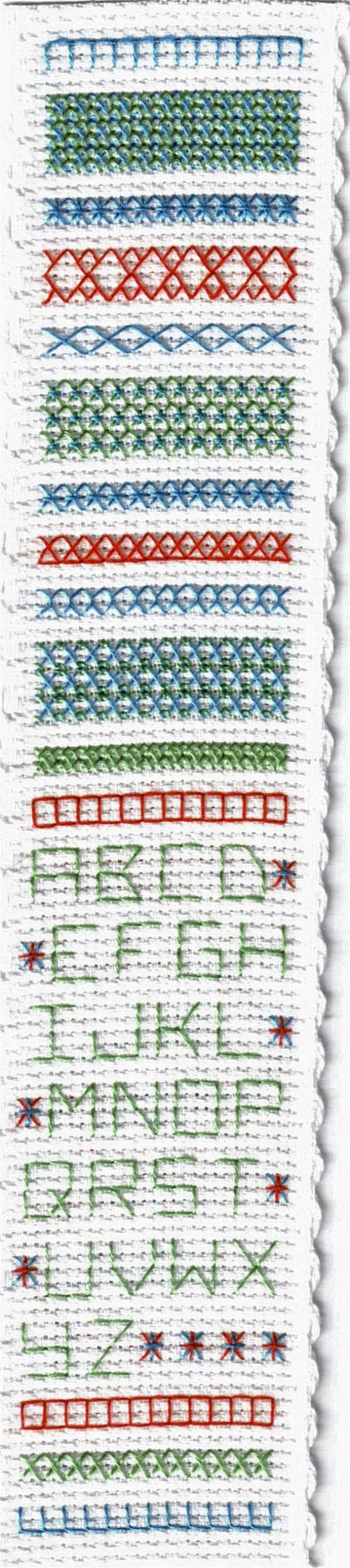 Cross Stitch Unique Bookmarks with These Free Printable Charts: Band Sampler Bookmark