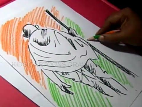 How To Draw Mahatma Gandhi Drawing For Kids Step By Step Youtube