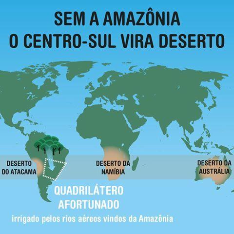 A Amazônia impede a formação de um deserto no centro-sul e sudeste do país. http://goo.gl/kLIo8T).