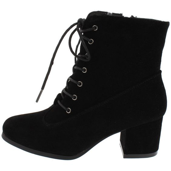 lida05 black lace up chunky heel boot 17 liked on