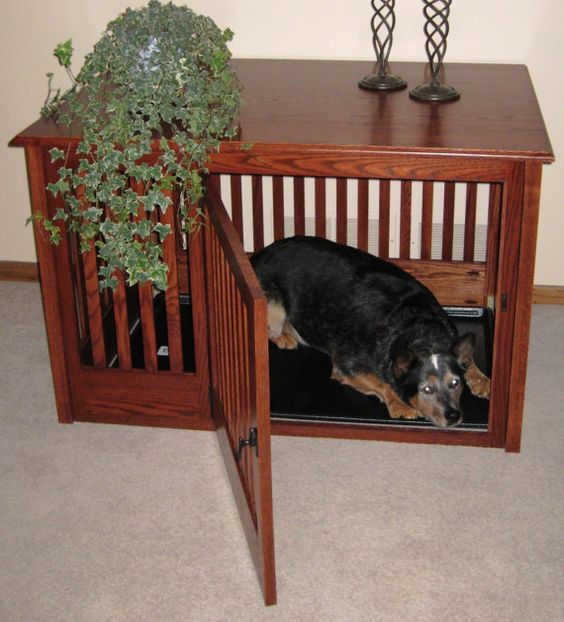 Custom Side Entry Wood Dog Crate Furniture by