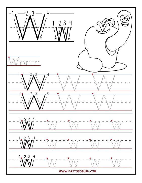 Printable letter W tracing worksheets for preschool – W Worksheets for Kindergarten