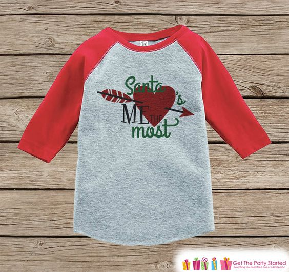 Kids Christmas Outfit - Santa Loves Me Most Christmas Shirt or Onepiece - Holiday Outfit - Boy Girl - Kids, Baby, Toddler, Youth