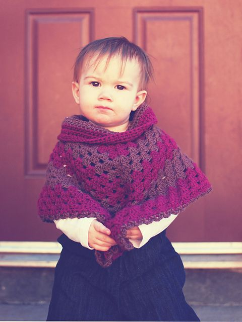 Crochet Granny Stitch Poncho with Collar - Pattern Download