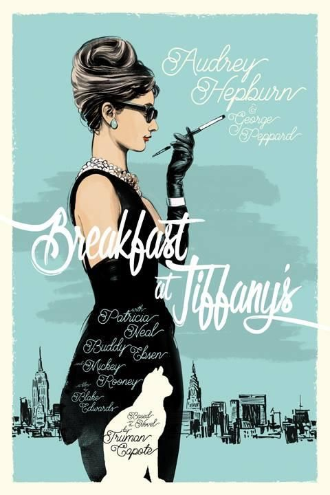 A salut to Capote/Blake's BREAKFAST AT TIFFANY'S by me. Sumi ink, oil stick on paper, digital finishes.: