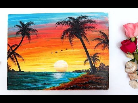 Step By Step Sunset Beach Landscape Painting For Beginners Using