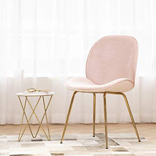 Art Leon Velvet Pink Shell Chair Soft Upholstered Modern Accent