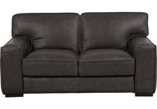 Excellent Deangelo Dark Gray Leather Loveseat Stuff To Buy Grey Alphanode Cool Chair Designs And Ideas Alphanodeonline