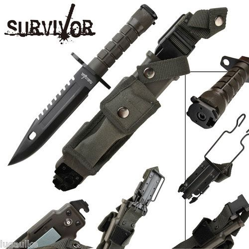 """New SURVIVOR Survival Knife/Bayonet - Black Finished 440 SS blade is 1/4"""" thick $38.95 http://www.ebay.com/itm/New-SURVIVOR-Survival-Knife-Bayonet-Black-Finished-440-SS-blade-1-4-thick-/251041558711?pt=LH_DefaultDomain_0=item3a733e30b7 find more items like this at http://stores.ebay.com/DDs-Pokemon-Card-and-Gift-Shop?_trksid=p2047675.l2563 visit and like us on facebook here www.facebook.com/pages/DDs-Gift-Shop/113955198649056"""