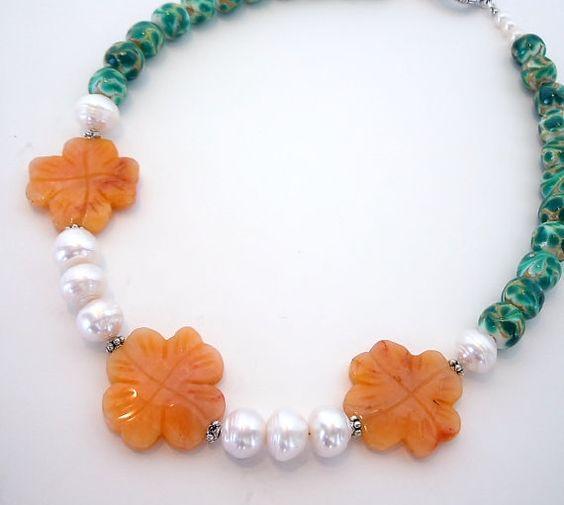 SUPER SALE Carved Jade Flowers Statement Necklace by DebbieRenee