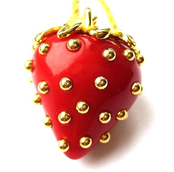 red gold necklace | Kenneth Jay Lane KJL Gold Studs Red Strawberry Necklace | eBay