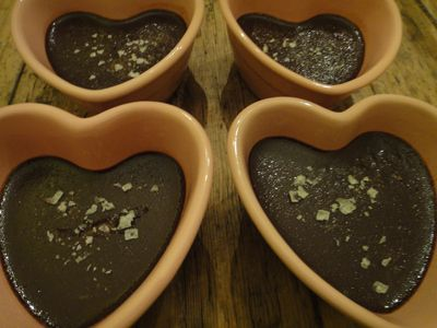 Light Chocolate Pot De Creme: 7 Ingredients with optional Fleur de sel.