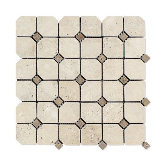 Buy Ivory Travertine Tumbled Octagon Mosaic Tile w/ Noce Dots Sample Product…