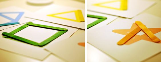 Tarjetas imprimibles para hacer formas geométricas con palitos de helado