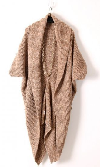 Khaki Long Sleeve Pockets Cape Cardigan Sweater pictures
