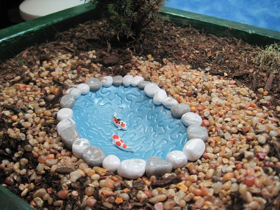 Koi pond for Fairy Garden OOAK by WeeBrigadoon on Etsy, $14.00