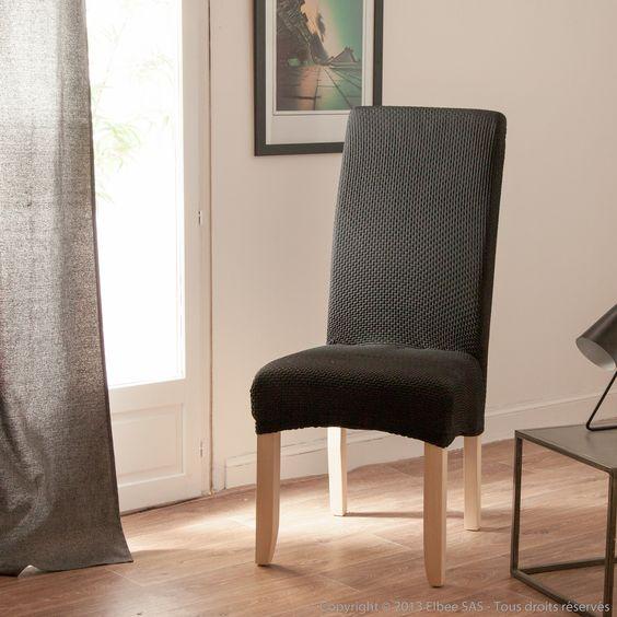Housse de chaise uni bi-extensible coton/polyester LISA Comptoir des toiles