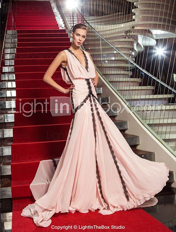 Formeller Abend / Militär Ball / Gala Kleid - Vintage inspiriert Eng anliegend V-Ausschnitt Pinsel Schleppe Georgette mit Spitze 2016 - €121.02
