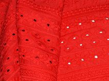 Red Œillet brodé indienne tissu de coton.