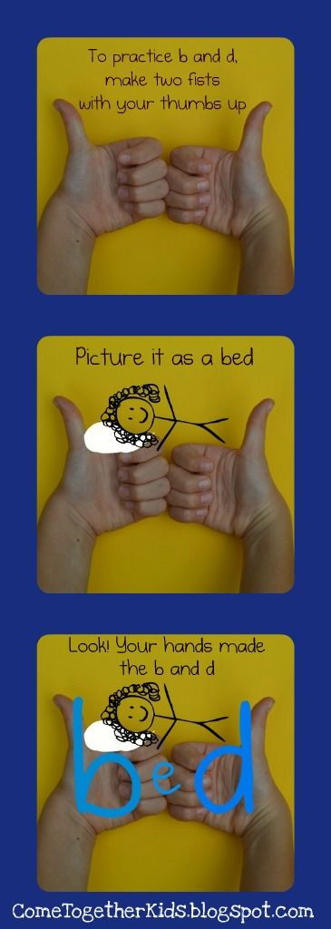 "Differentiating the Letters ""b"" and ""d""~  Students put their fists together and their thumbs up to make a ""b"" and ""d.""  Imagine a small pillow and the letter ""e"" and they have a b-e-d!"