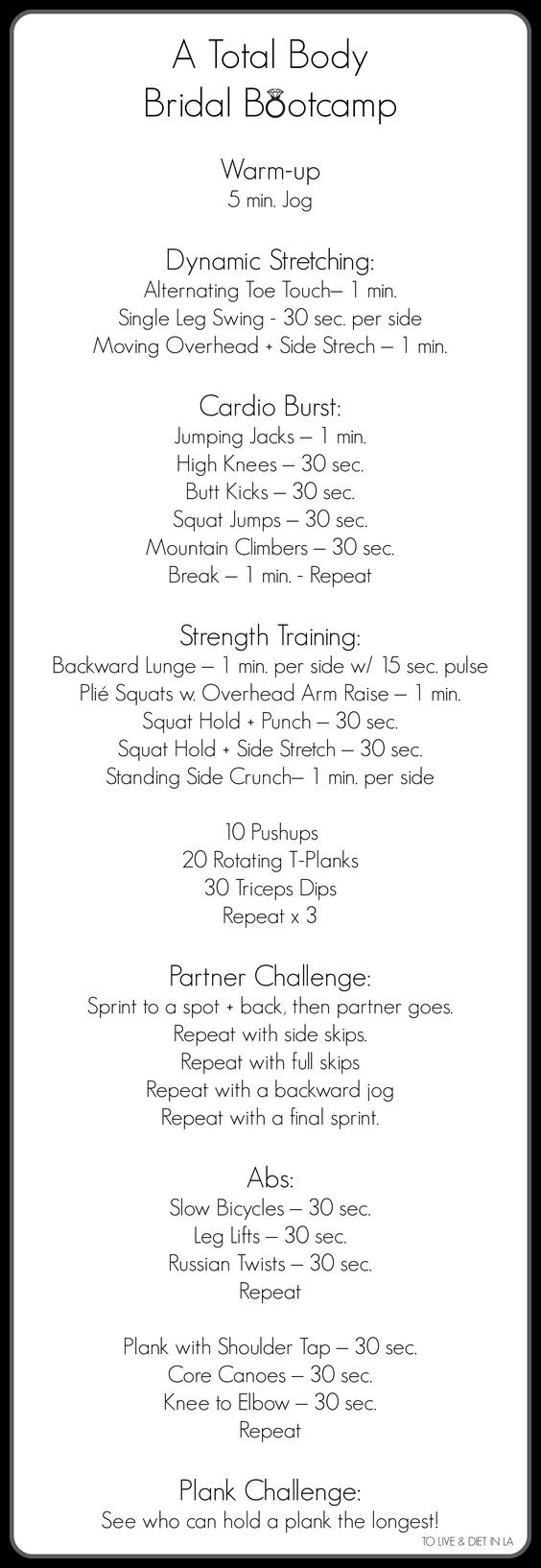 A Total Body Bridal Bootcamp - To Live & Diet in LA. Bridal Fitness / Aisle Perfec