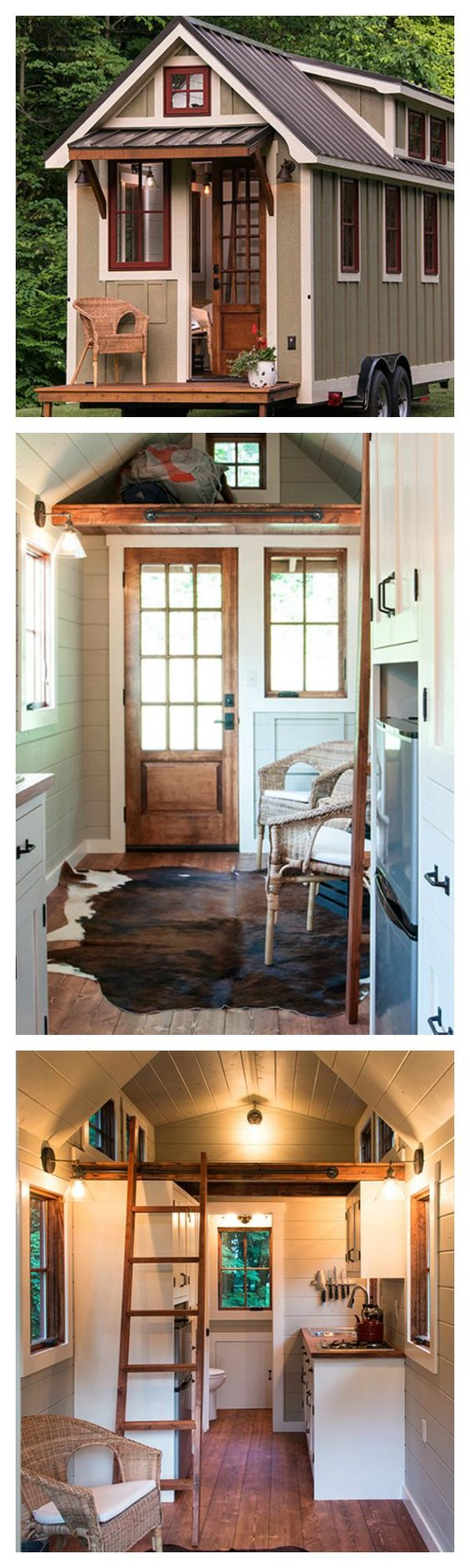It you're thinking about downsizing and trying the tiny house movement, this tiny 150 cottage that's completely towable is perfect for you. Its interior is full of rustic charm that will make you feel like you're in a farm house.